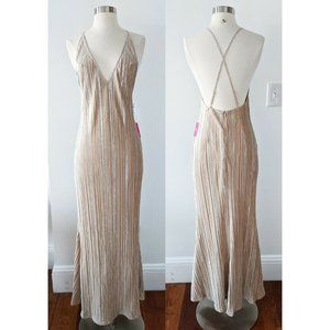 Champagne Gold Nude Sexy Formal Dress Gown Bridal